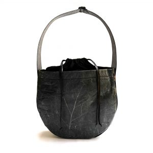 Nuvi-Nomad re-leaf vegan leaf leather women's handbag - black
